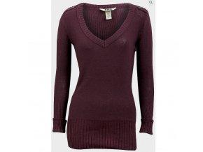 dámský, pulovr, vínový, burgundy, levný