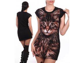 černá tunika, bavlna, potisk, kočka