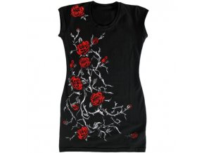 černá tunika, bavlna, gotika, potisk, červené růže