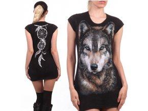 tunika, bavlna, potisk, gotika, vlk, lapač snů