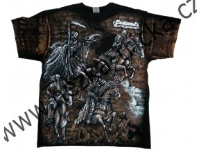tričko, potisk, čtyři jezdci, apokalypsa, zkáza, celoplošný