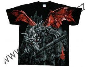 tričko, potisk, drak, meč, celoplošný, kostel