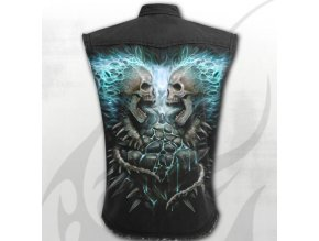 metalová košile spiral s lebkou a páteří