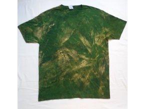Ručně batikované bavlněné tričko List vel. XXL