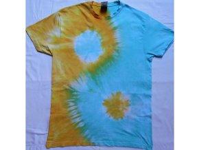 Ručně batikované bavlněné tričko Jin Jang vel. S