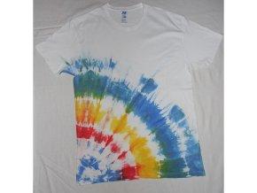 Ručně batikované bavlněné tričko Polární záře vel. L