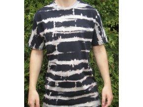 Ručně batikované bavlněné tričko Signál vel. XL