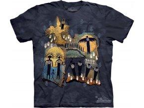 tričko, indiánské, kresby, potisk, batikované, mountain