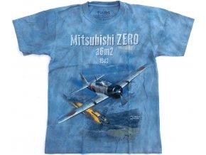 Military tričko s potiskem japonské stíhačky Mitsubishi Zero