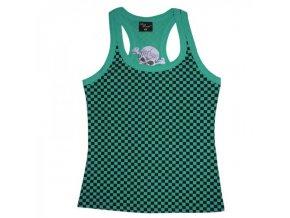 Dámské bavlněné tričko zelenočerné káro