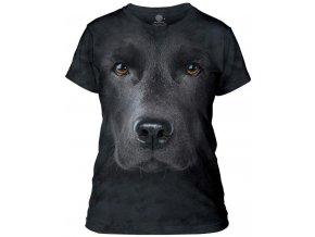 dámské tričko-bavlněné-batikované-potisk-3d-černý labrador