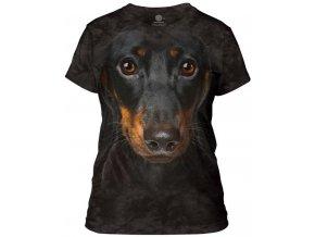 dámské tričko-bavlněné-batikované-potisk-3D-jezevčík