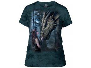 Dámské bavlněné tričko s batikovaným potiskem draka a princezny