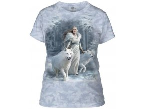 Dámské bavlněné tričko s batikovaným potiskem královny a vlků