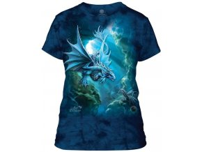 Dámské bavlněné tričko s batikovaným potiskem mořského draka
