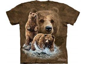 dětské tričko-hnědý medvěd-batikované-potisk-mountain