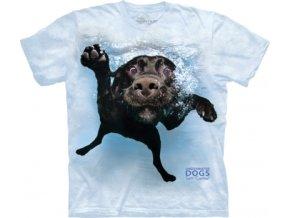 tričko, pes, štěně, batikované, potisk, voda
