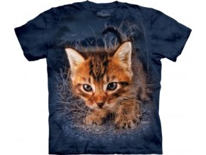 tričko-zrzavé kotě-kočka-potisk-batikované-bavlněné
