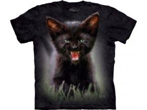 tričko-kočka-černé kotě-batikované-potisk-mountain