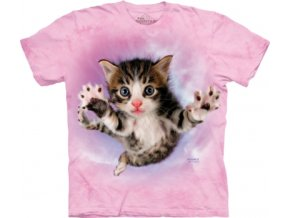 tričko, kočka, hravé kotě, potisk, batikované, mountain