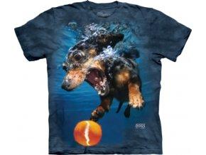 tričko, pes, tenisák, batikované,  potisk, vtipné