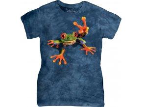dámské tričko-bavlněné-batikované-potisk-žába-vtipné