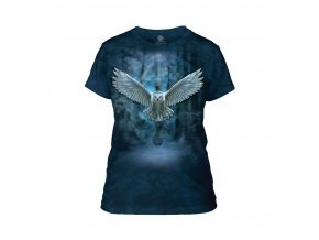 Dámské bavlněné tričko s batikovaným potiskem letící magické sovy