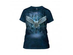 dámské tričko-potisk-batikované-bavlněné-magické sovy
