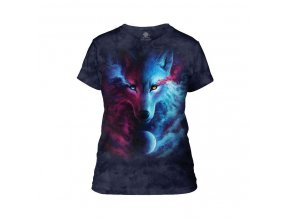 Dámské bavlněné tričko s batikovaným potiskem magického vlka