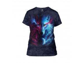 dámské tričko-batikované-bavlněné-potisk-magický vlk