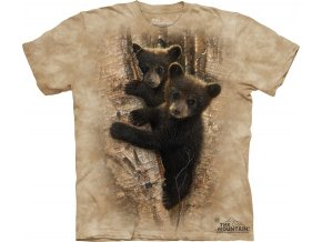 tričko, medvídek, dětské, strom, mountain, potisk