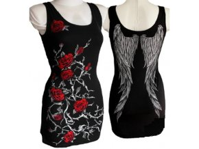 minišaty, bavlna, gotika, potisk, červené růže