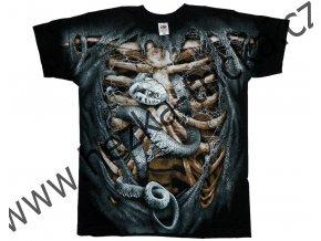 tričko, potisk, horor, had, kostra, roztrhaný oděv
