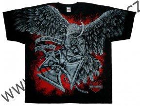 Chopper tričko s celoplošným potiskem orla a kříže