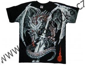 tričko, potisk, drak, meč, celoplošný, fantasy