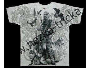 tričko, potisk, viking, vlci, Odin, celoplošný
