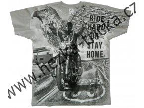 Chopper tričko s celoplošným potiskem orla a motorkářů