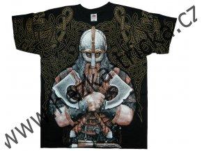 tričko, potisk, viking, sekery, souboj, celoplošný