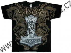 Tričko s celoplošným potiskem Thora a kladiva