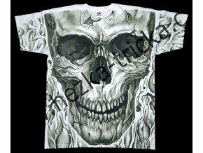 tričko, potisk, velká lebka, hororové, celoplošný