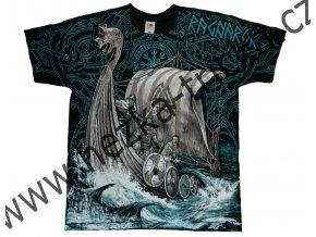 tričko, potisk, vikingové, drakar, moře, runy