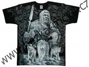 tričko, potisk, viking, vlk Fenrir, Odin, Ragnarok