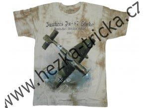 tričko, military, potisk, stíhačka Junkers, Stuka, letadlo