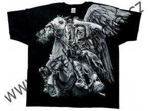 tričko, potisk, jezdec apokalypsy, lebky, kůň, fantasy