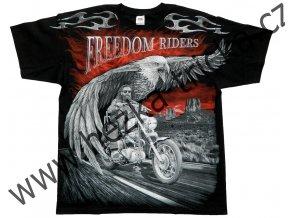 Chopper tričko s celoplošným potiskem orla a jezdců na motorkách