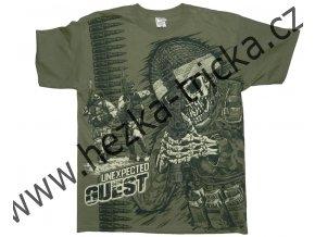 tričko, military, potisk, vtipné, kostlivec, úderná jednotka