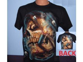 tričko, kuřák, doutník, lebka, svítící, fluorescenční potisk