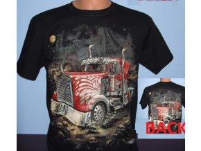 tričko, kamion, truck, černé, svítící, fluorescenční potisk