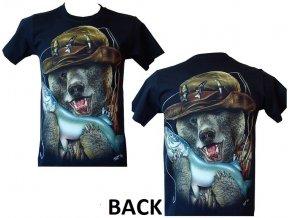 tričko, medvěd, rybář, ryba, svítící, fluorescenční potisk