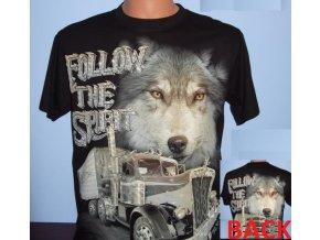 tričko, truck, kamion, vlk, svítící, fluorescenční potisk